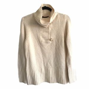 CASSIS Wool Cashmere Pullover Sweater Button Neck